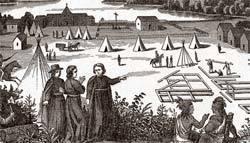 Missionários jesuítas entre índios americanos: europeus catequizam os nativos. Foto: Bettmann/Corbis /Stock Photos