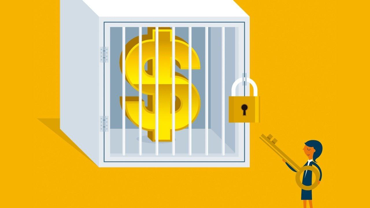 Ilustração de um cofre gigante com uma sifra de dinheiro. Do lado de fora do cofre, há uma mulher com uma chave, como se fosse destrancar o cofre
