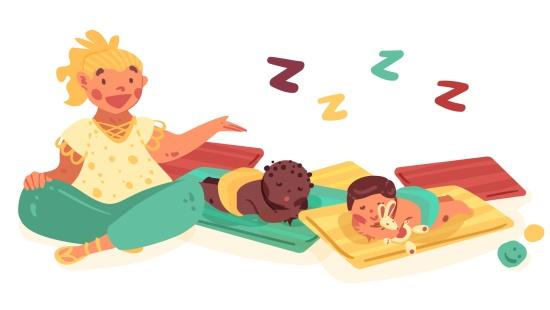 Soneca dos bebês menores durante a rotina
