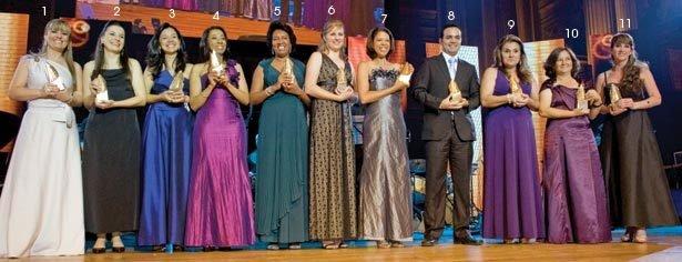 EQUIPE DE CRAQUES Reunido, o time campeão exibe os troféus criados pela artista plástica Maria Bonomi. Foto: Marina Piedade