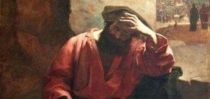 pintura de um homem sentado com a mão cobrindo o rosto, como se estivesse arrependido