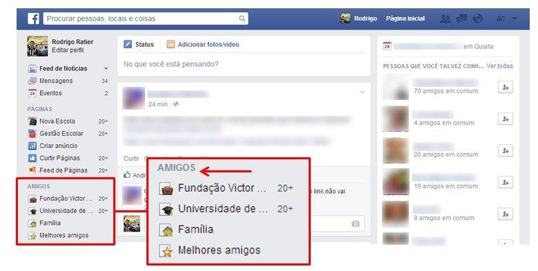 Criação de listas no Facebook