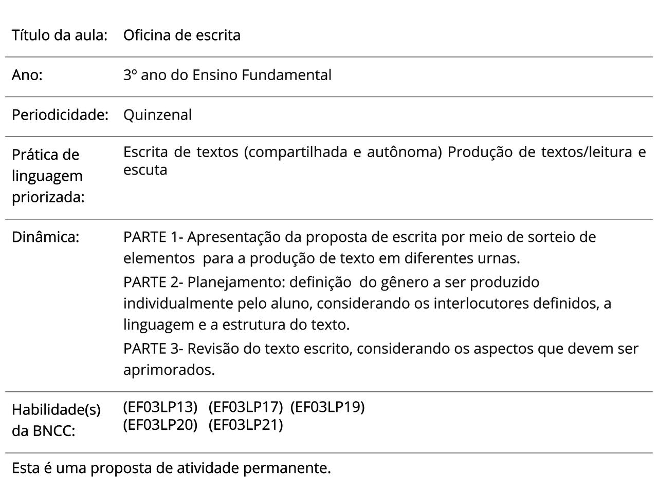 Plano De Aula 3º Ano Língua Portuguesa Oficina De Escrita