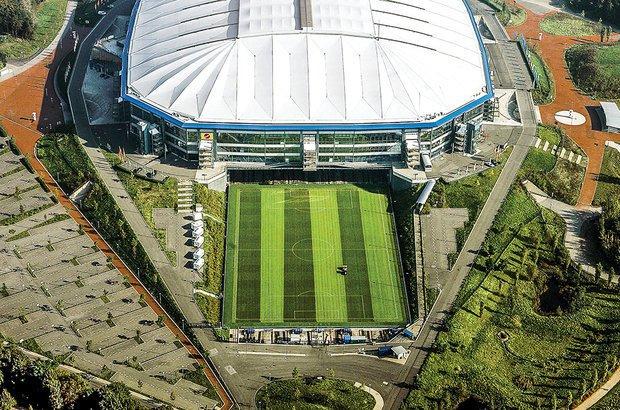 Na Alemanha, o gramado do Veltins-Arena é retirado do estádio para tomar sol. Volker Hartmann/DDP/AFP