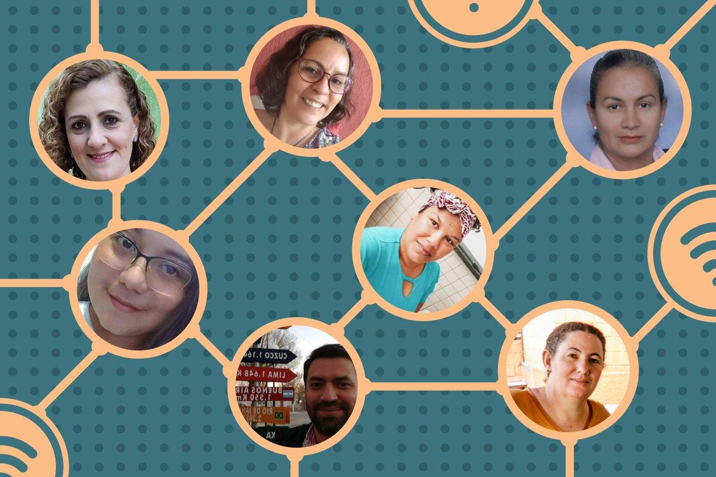 ilustração com rostos dos professores sendo conectados por setas