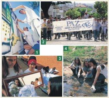 As atividades planejadas pela escola relacionam os conteúdos curriculares à vida da comunidade: a importância do voto vira grafite durante desafio escolar disputado em São Paulo (1); passeata pela paz encerra debates sobre a violência (2); aula com espelhos para todos verem as várias formas de