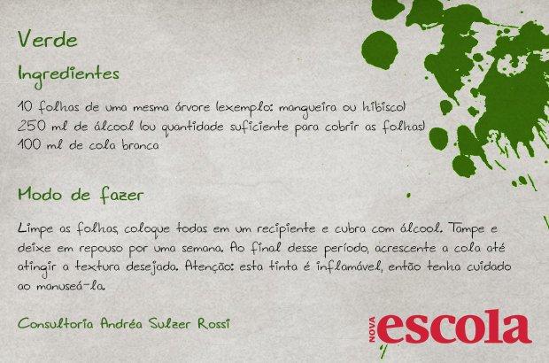 Receita natural de tinta verde