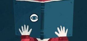 Ilustração de uma criança com um livro no rosto, ele olha atraves dele