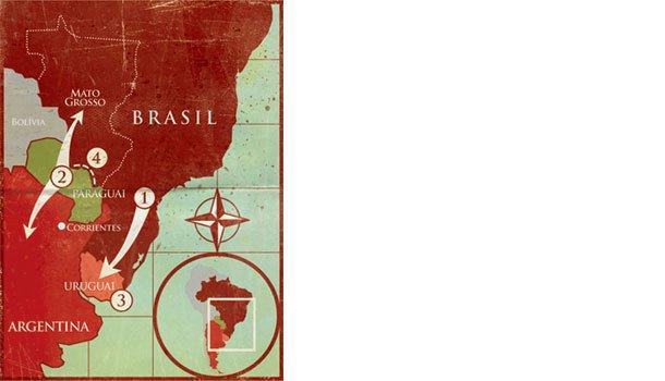 Os principais conflitos - Guerra do Paraguai. Ilustração: Bruno Algarve