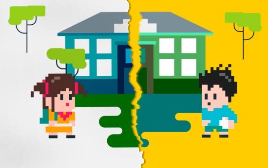 Ilustração mostra um menino e uma menina de lados opostos de um edifício que simboliza uma escola. No centro, há uma rachadura que separa os dois