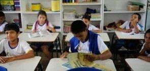 Alunos da rede pública de Manaus, no Amazonas