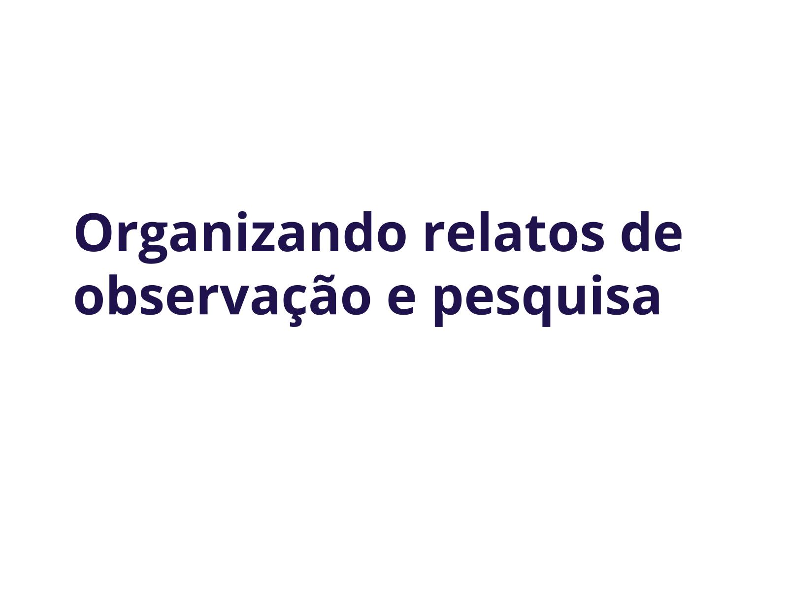 Organizando relatos de observação e pesquisa