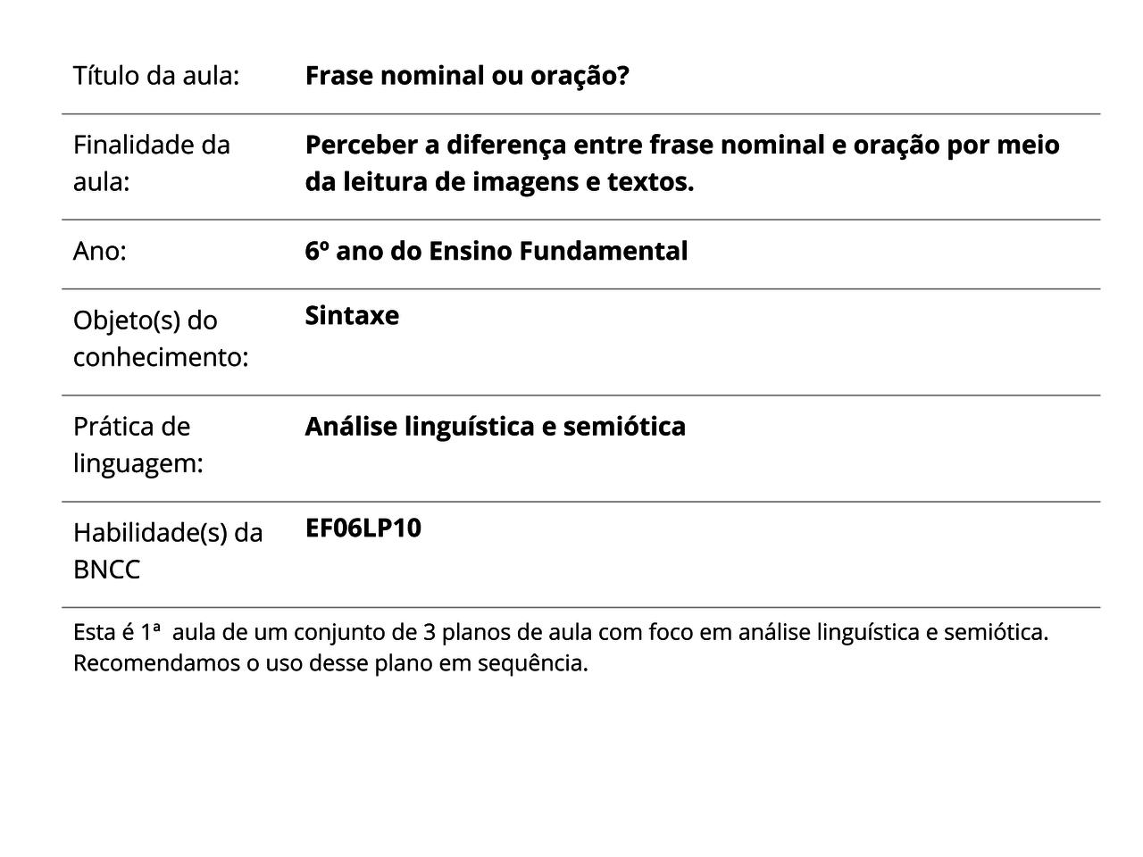 Plano De Aula 6º Ano Língua Portuguesa Frase Nominal Ou Oração