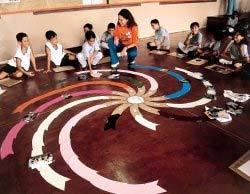 Eliane e seus alunos, com a linha em espiral no Pitágoras do Amazonas: idéia de que o tempo é infinito. Foto: Andreia Mayumi