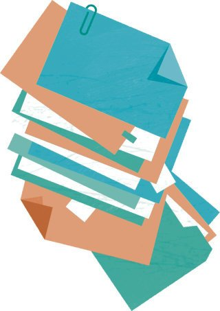Saiba quais documentos devem ir para o lixo e quais precisam ser arquivados. Ilustração: Bruno Algarve