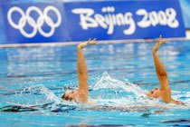 Lara Teixeira e Nayara Figueira durante os Jogos de Beijim 2008. Foto: Washington Alves / COB