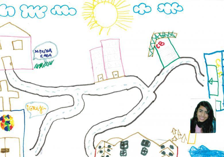 Ilustração sobre o trajeto feita pela aluna Joyce Machado da Silva