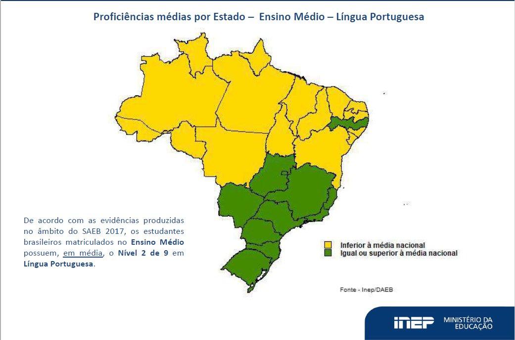 Mapa do Brasil mostra resultados para Língua Portuguesa no Ensino Médio- Saeb