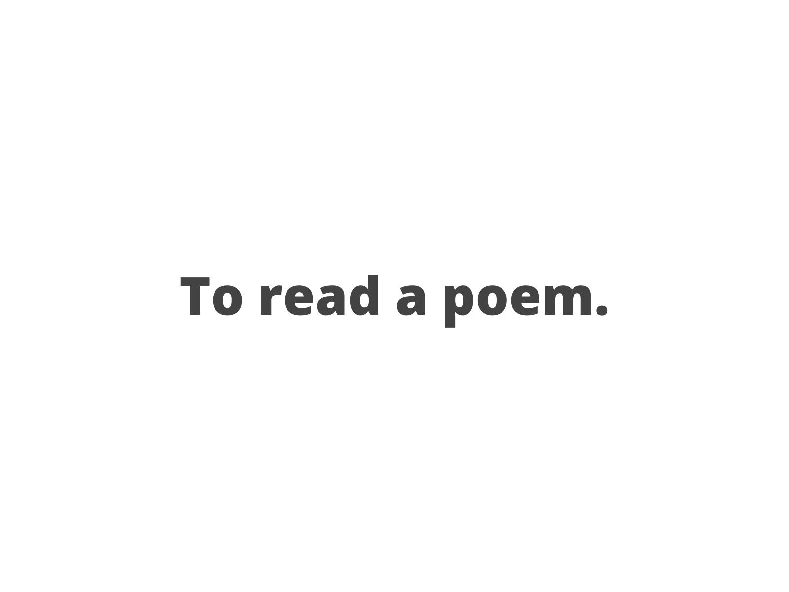 Lendo um poema
