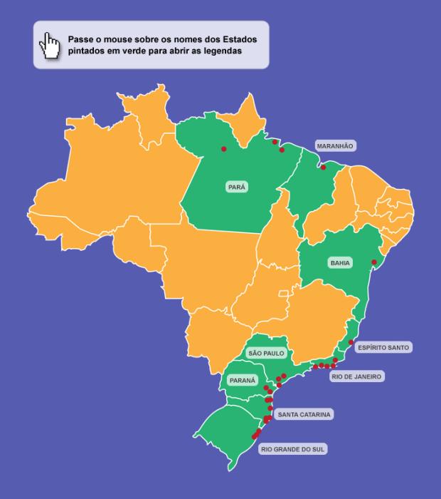 Localização geográfica de sambaquis pelo Brasil