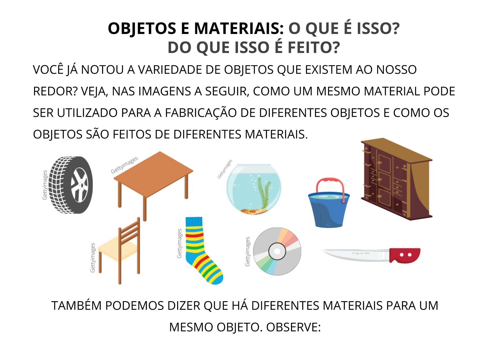 A diferença entre materiais e objetivos