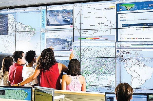 Visitar os órgãos de monitoramento de desastres trouxe novas informações aos alunos. Ramón Vasconcelos