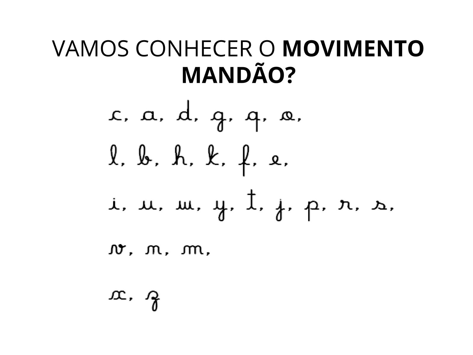 Palavras escritas com letra cursiva