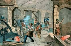 Litografia do século 19 mostra metalúrgica italiana: Marx aprovava ensino nas fábricas. Foto: Corbis/Stock Photos