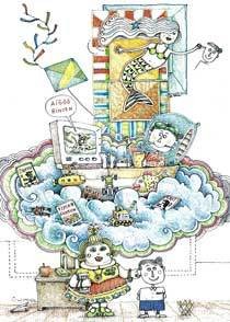 A Profesora de Desenho. Ilustracão: Luiz Maia