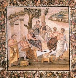 Mosaico de Pompéia recria a Academia de Platão: ambiente de aprendizado. Foto: Araldo de Luca/Corbis /Stock Photos