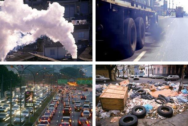 Imagens mostram diferentes situações que causam a poluição do ar (escapamentos de veículos, fumaça das indústrias etc.
