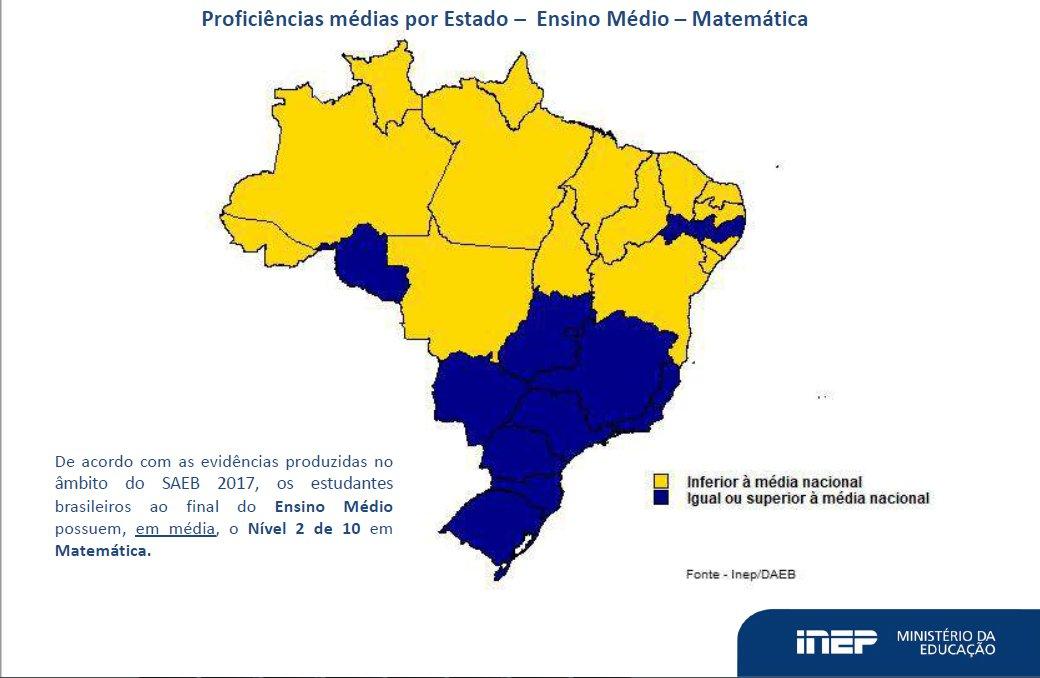 Mapa do Brasil mostra os resultados de proficiência média nacional em Matemática no Saeb