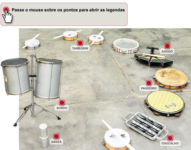 Instrumentos de samba. Julio César Costa