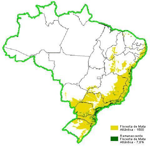 Figura 2: Mapa comparativo entre a área de cobertura vegetal original de Mata Atlântica e a remanescente. Nota-se que quase 93% da vegetação original foi desmatada. FONTE: http://www.rededasaguas.org.br/site_base_iguape/prog/educ/ribeira/agua/mapa.htm