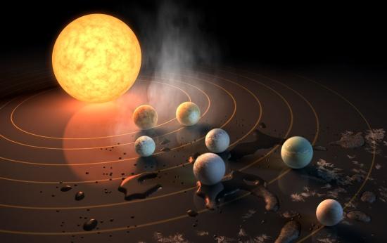 Impressão artística dos sete planetas em torno da estrela Trappist-1
