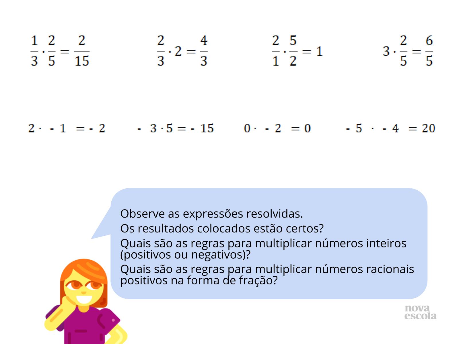 Multiplicação de racionais fracionários