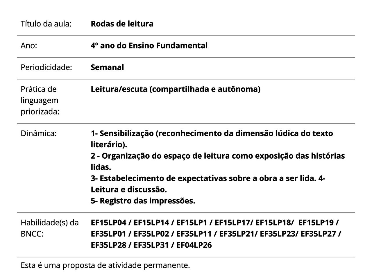 Plano De Aula 4º Ano Lingua Portuguesa Rodas De Leitura