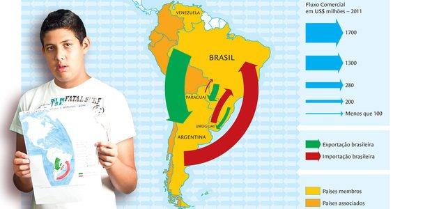 Produzindo um mapa, a turma pôde observar a participação do Brasil nas dinâmicas regionais. Foto Patricia Stavis. Ilustração Bruno Algarve