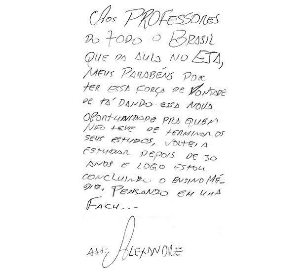 Bilhete escrito por aluno de EJA para o Dia do Professor