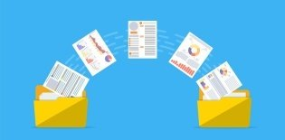 Ilustração de duas pastas de documento em cada ponta da imagem. Existem papéis saindo de uma pasta para outra