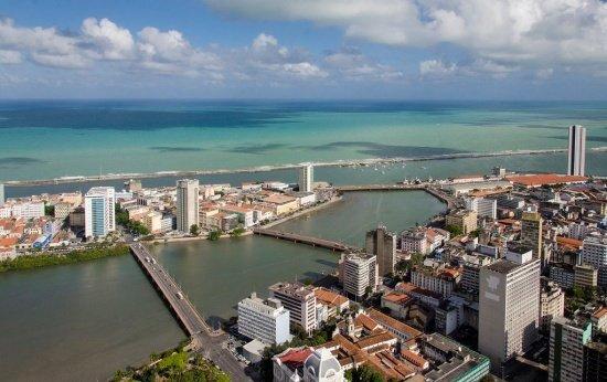 Foto aérea do bairro do Recife Antigo