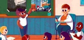 Ilustração de um grupo de alunos sentado em roda. A professora também está sentada enquanto uma das crianças apresenta um cartaz na parede