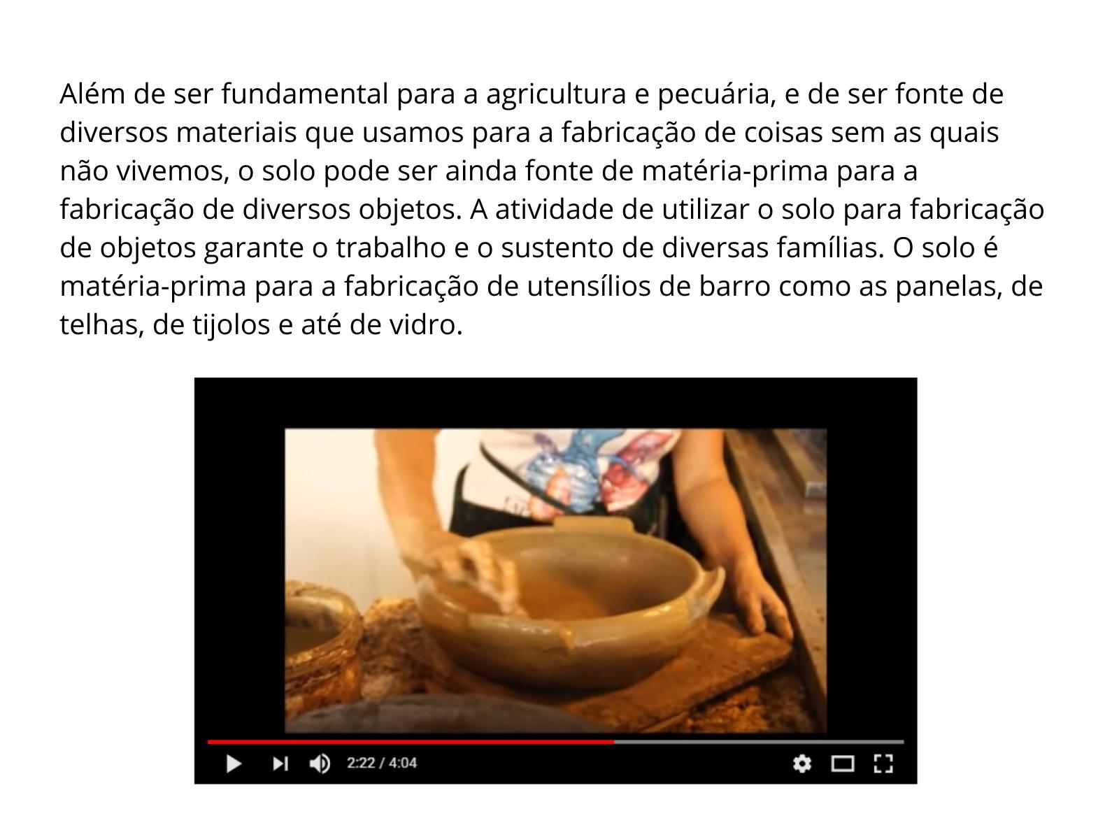 O solo como matéria-prima na fabricação de objetos