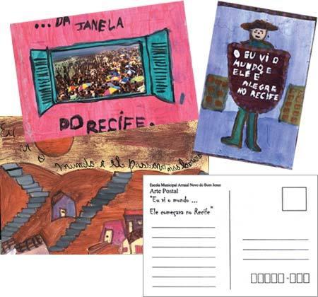 Cartões criados por alunos de Recife: desenho, pintura e colagem inspirados. Fotos: reprodução