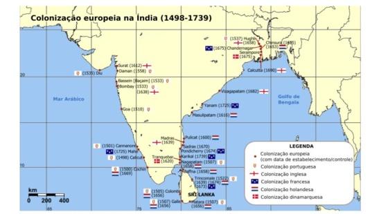 Colonização inglesa na Índia e sua divisão