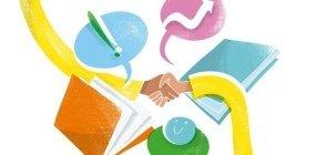 Ilustração com duas mãos fazendo um aperto de mãos, ao redor cadernos e balões de conversa