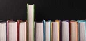Fileira de livros didáticos com um deles um pouco mais para cima que os outros, dando a impressão de estar sendo puxado, escolhido
