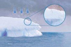 O acúmulo de neve sobre antigas formações aumenta o tamanho das geleiras e desequilibra o peso de grandes blocos, que começam a se partir. As rachaduras surgem e acentuam-se conforme o peso aumenta (detalhe). Ilustrações Rogério Maroja