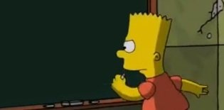 Bart Simpson escrevendo na lousa