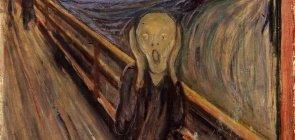 Uma pintura de uma pessoa atravessando uma ponte em posição de grito com as mãos no rosto